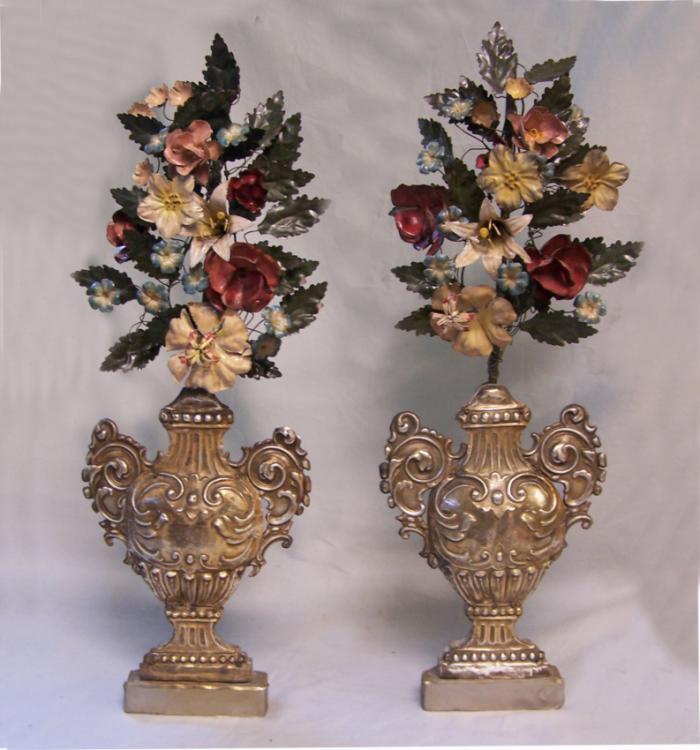 Pair of 18th C Italian painted tole floral arrangements