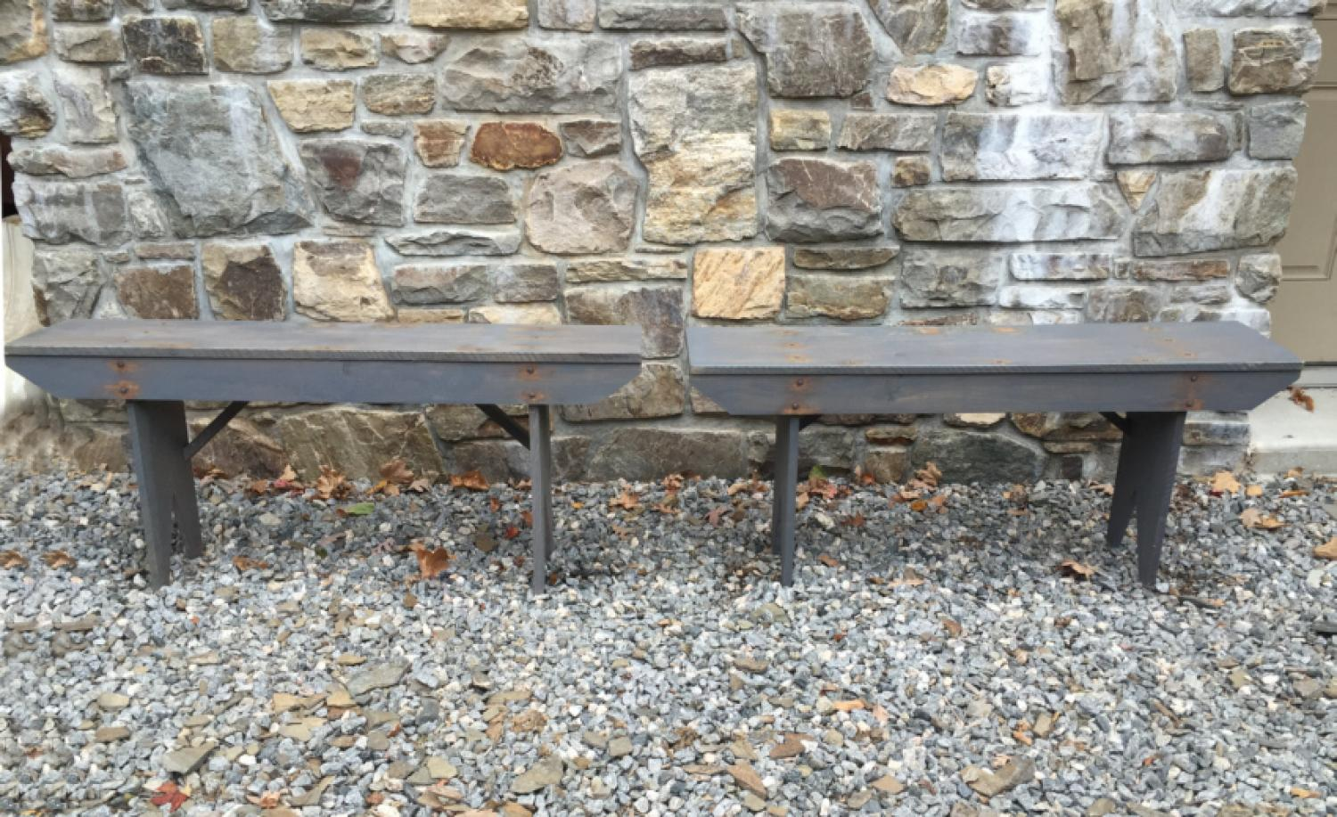 Pair of artisan hand made hickory benches