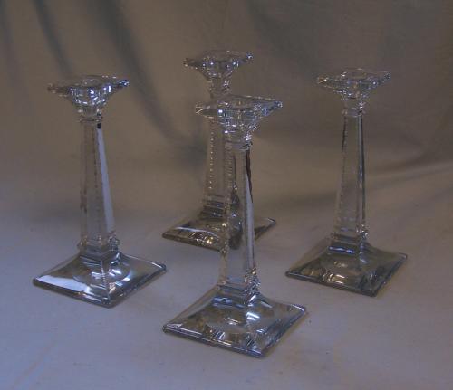 Set of 4 Heisey crystal glass Aristocrat candlesticks