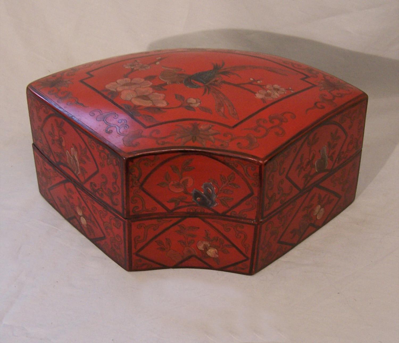 Japanese Meiji red lacquer fan box c1880