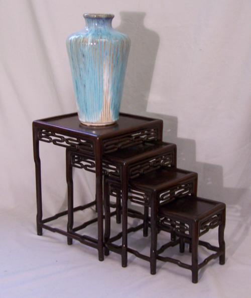 Antique set of four miniature Chinese nesting tables c1860