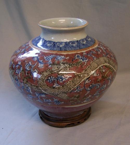 Chinese 19th c porcelain dragon jar