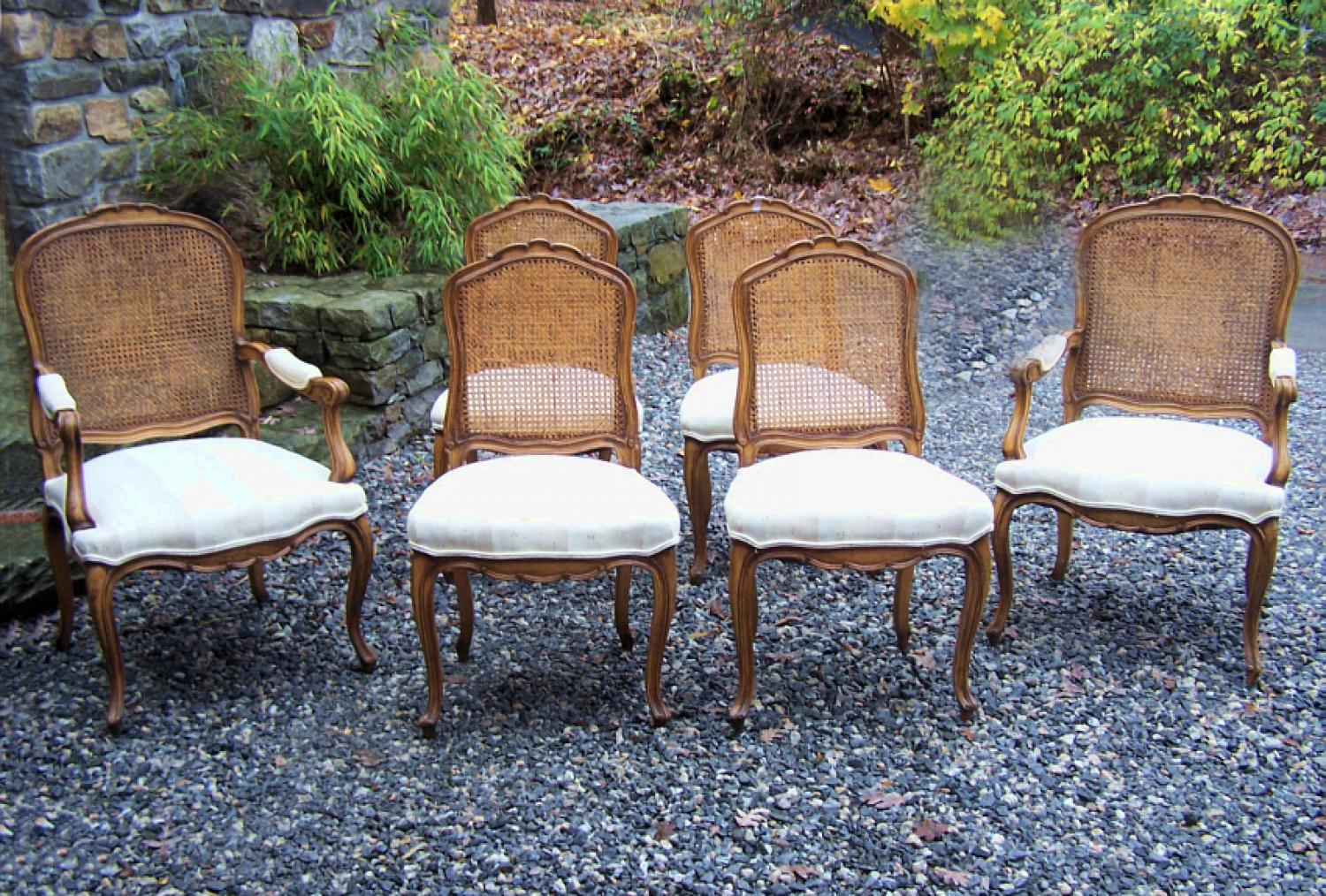 Louis XV style set of 6 caned upholstered dining chairs