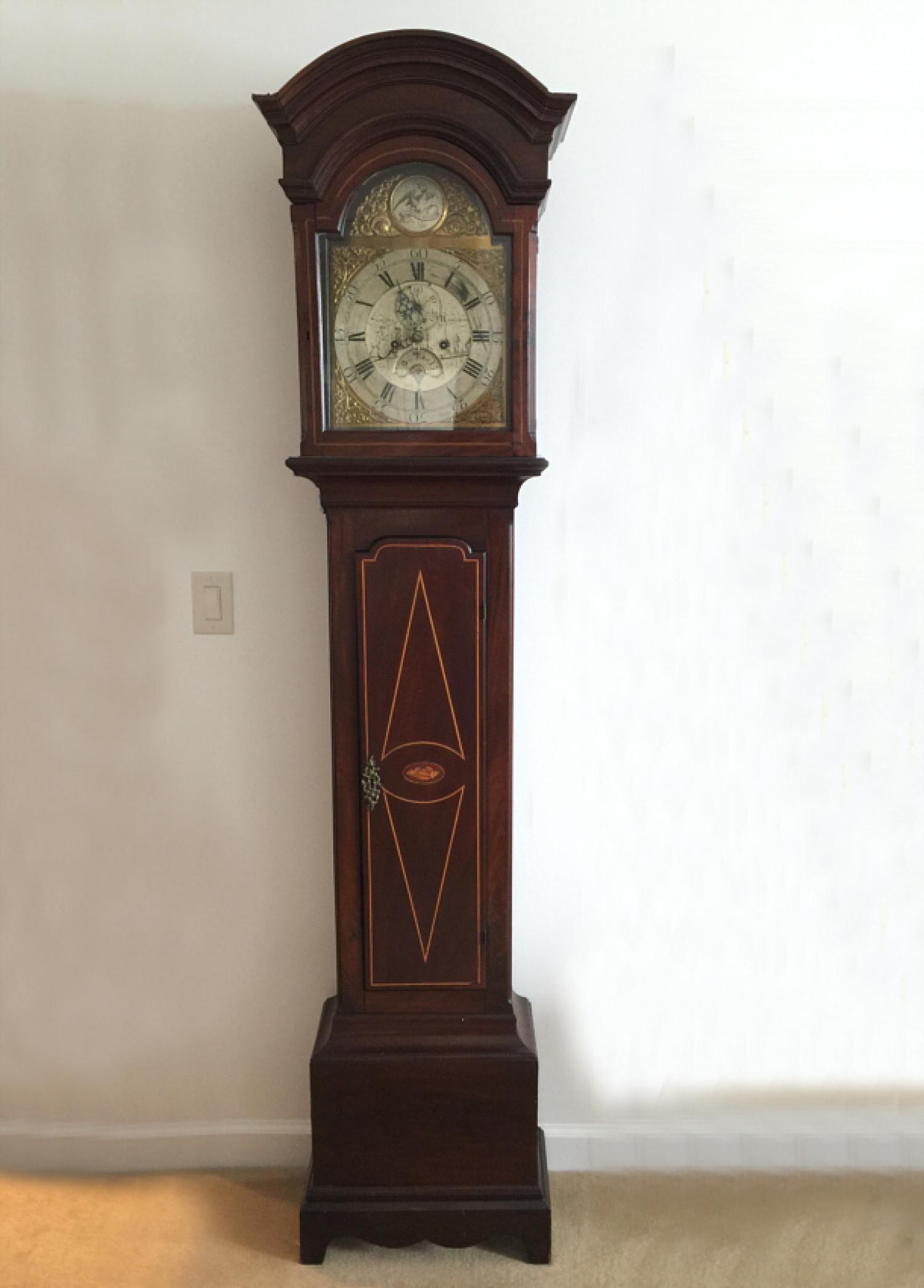 Samuel Raworth English mahogany tall case clock c1770