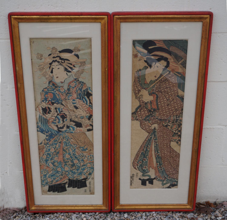 Antique Japanese pair wood block geisha prints