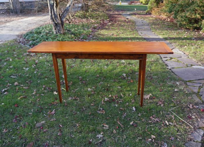 Handmade pine sofa table with single board top