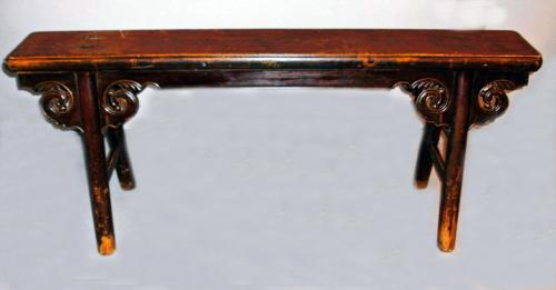 Chinese provincial lacquered elmwood long bench 18thc