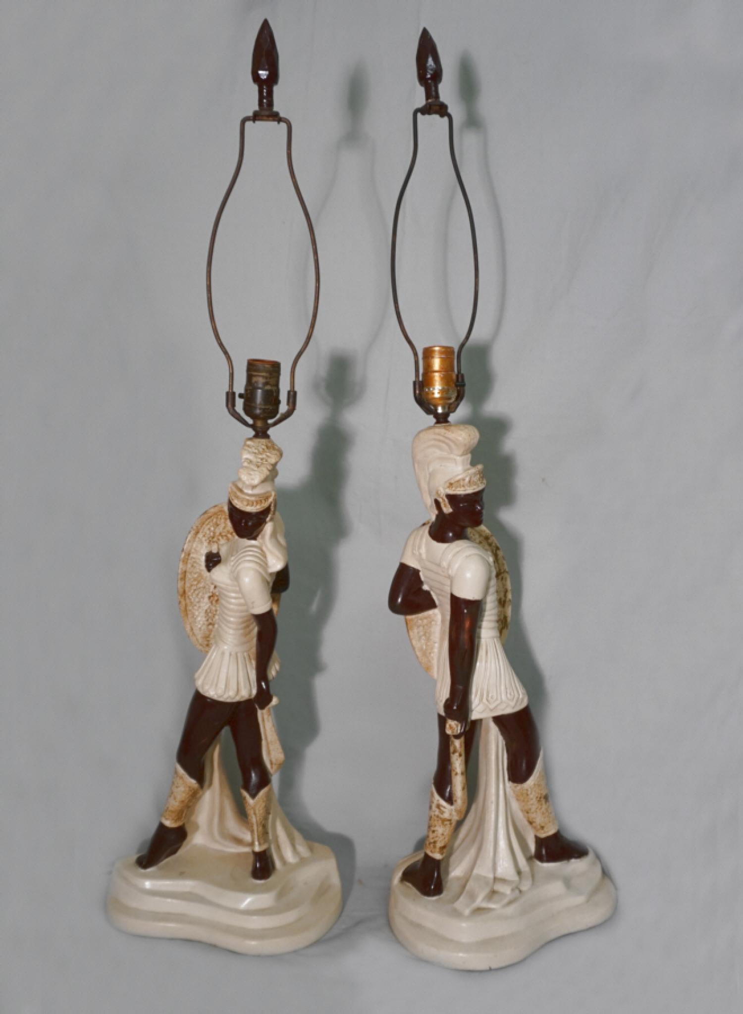 Vintage Reglor Mid Century Modern pair gladiator lamps