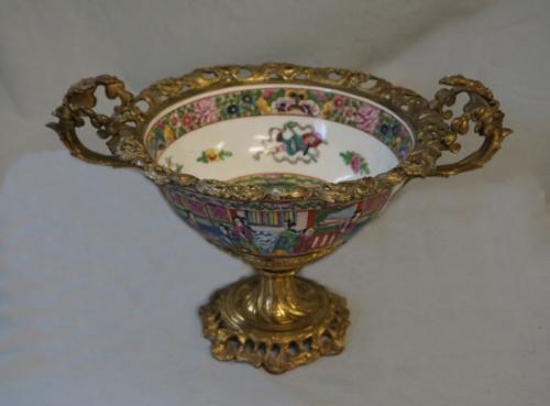Rose Medallion bowl mounted in gilt bronze c1880