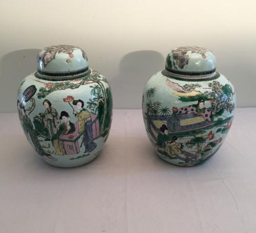 Antique pair of Chinese porcelain storage jars 19thc