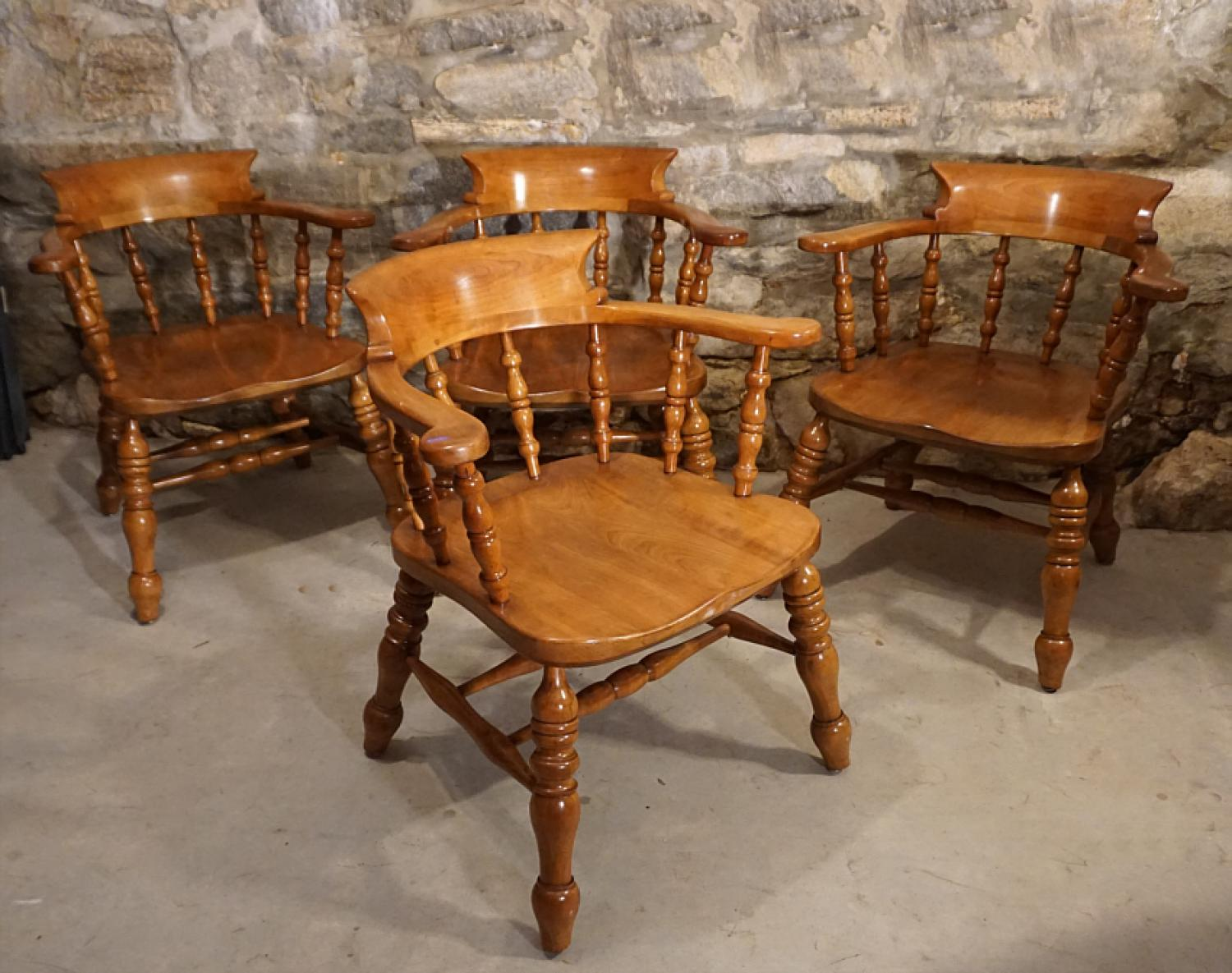Set of 4 Leopold Stickley cherry fire house chairs c1960