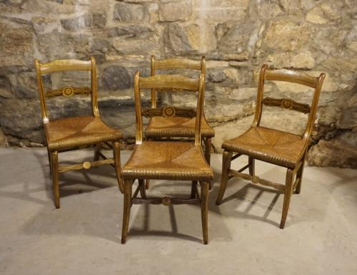 Set of four hand painted Empire chairs with rush seats c1825