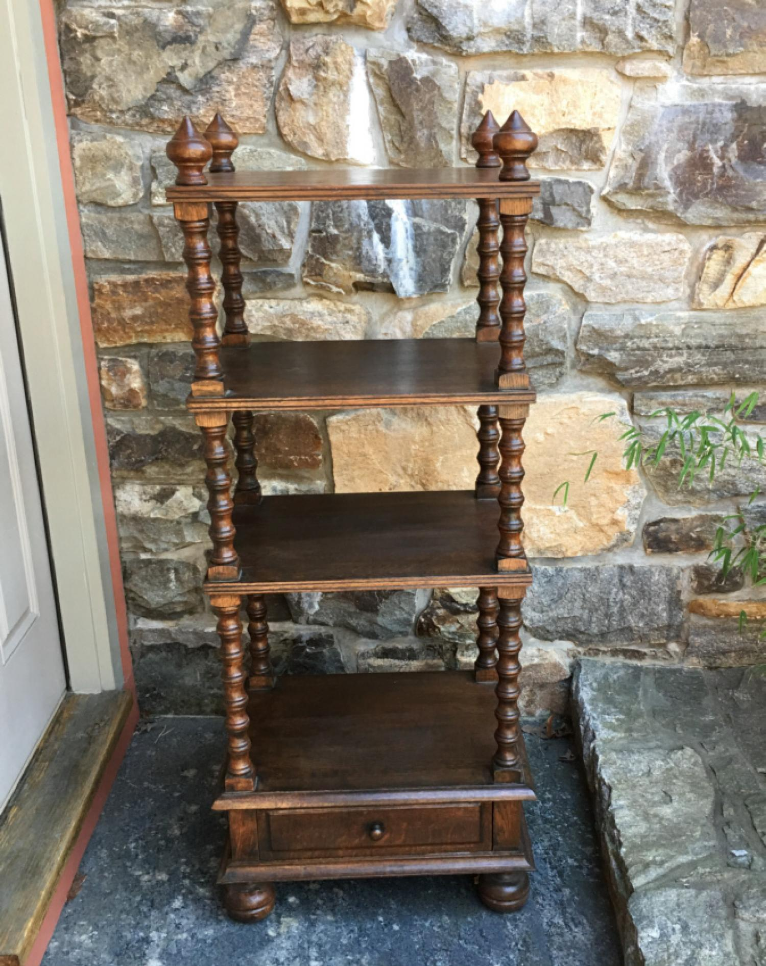 Turned oak etagere stand c1950