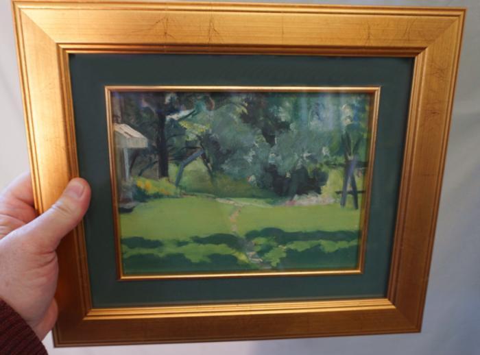 Jennie Burr landscape oil painting on board c1895
