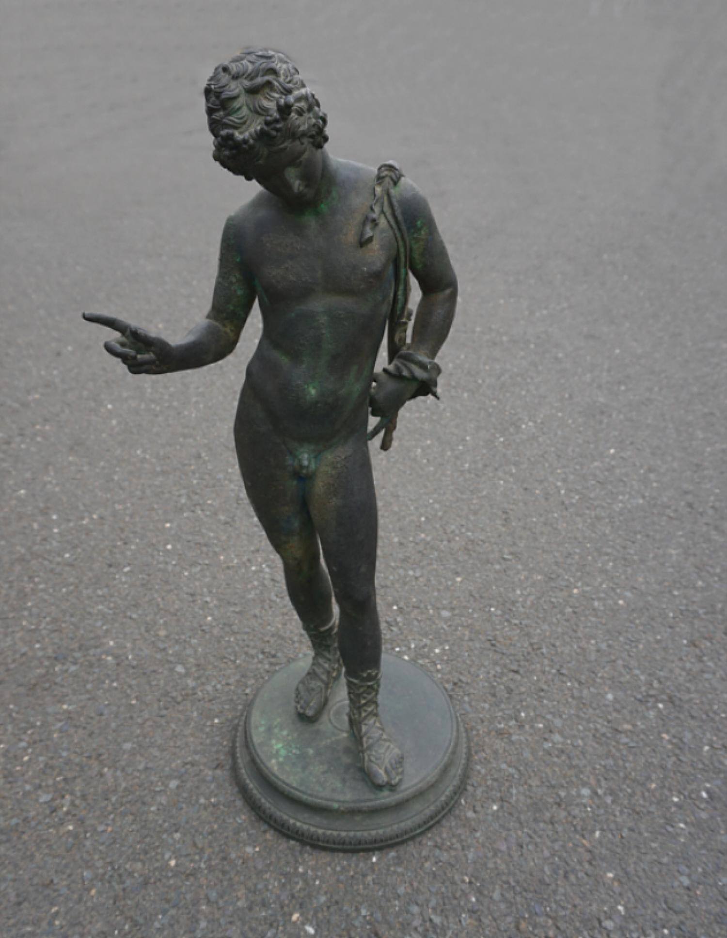 Antique G E Sommer bronze figure of Antinous c1880