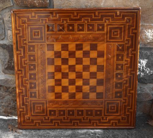 Antique parquet game board double sided c1885