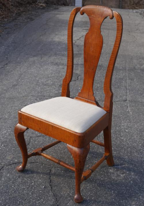 Early American Queen Anne tiger maple chair c1740