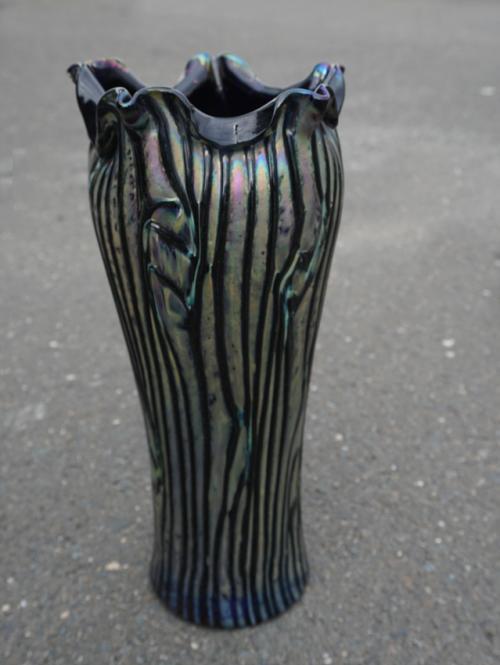 Large vintage Rindskopf art glass vase