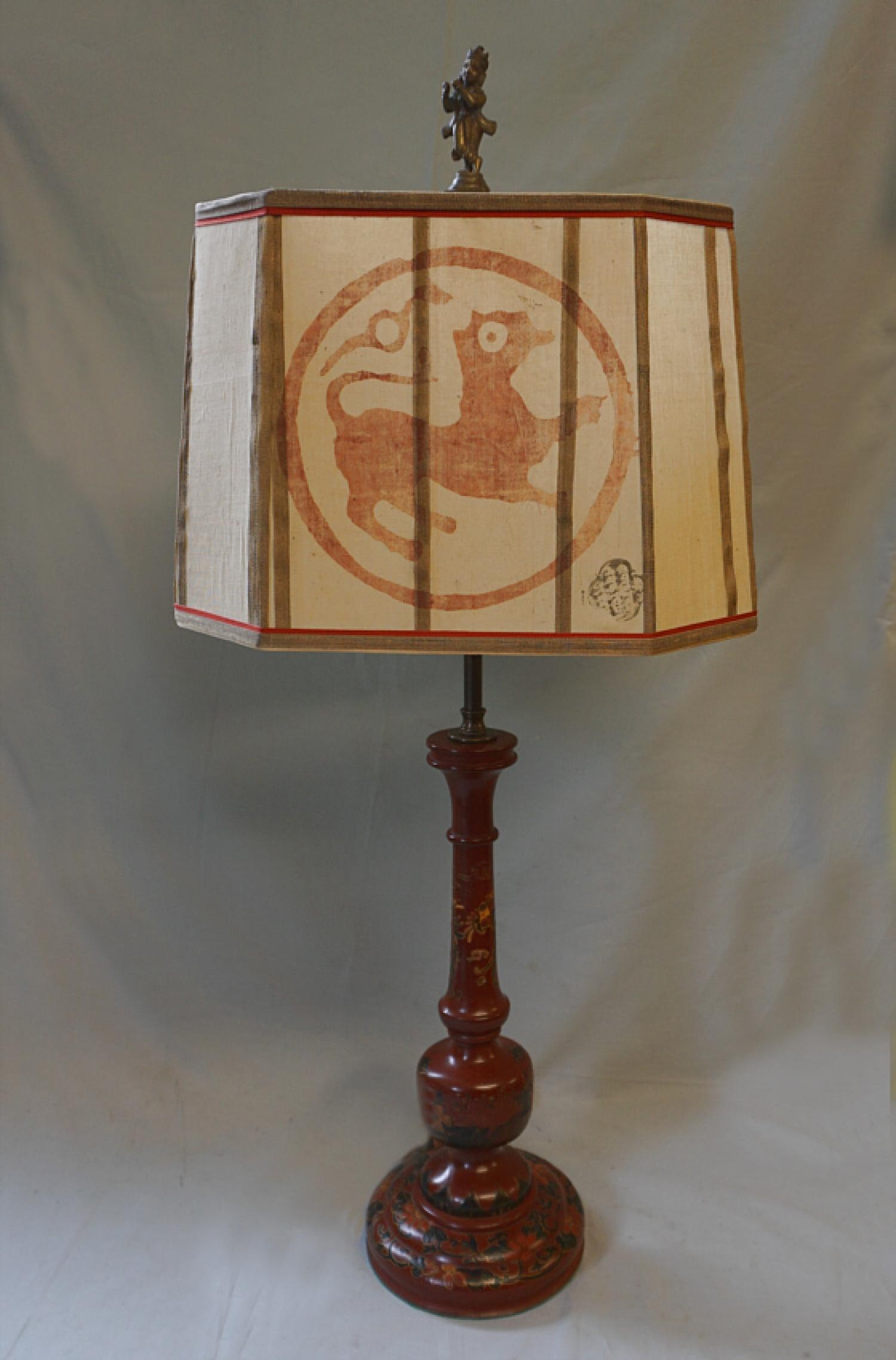 Vintage Chinese red lacquer lamp with wood block shade c1920