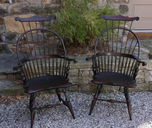 Vintage pair of D R Dimes knuckle arm Windsor arm chairs