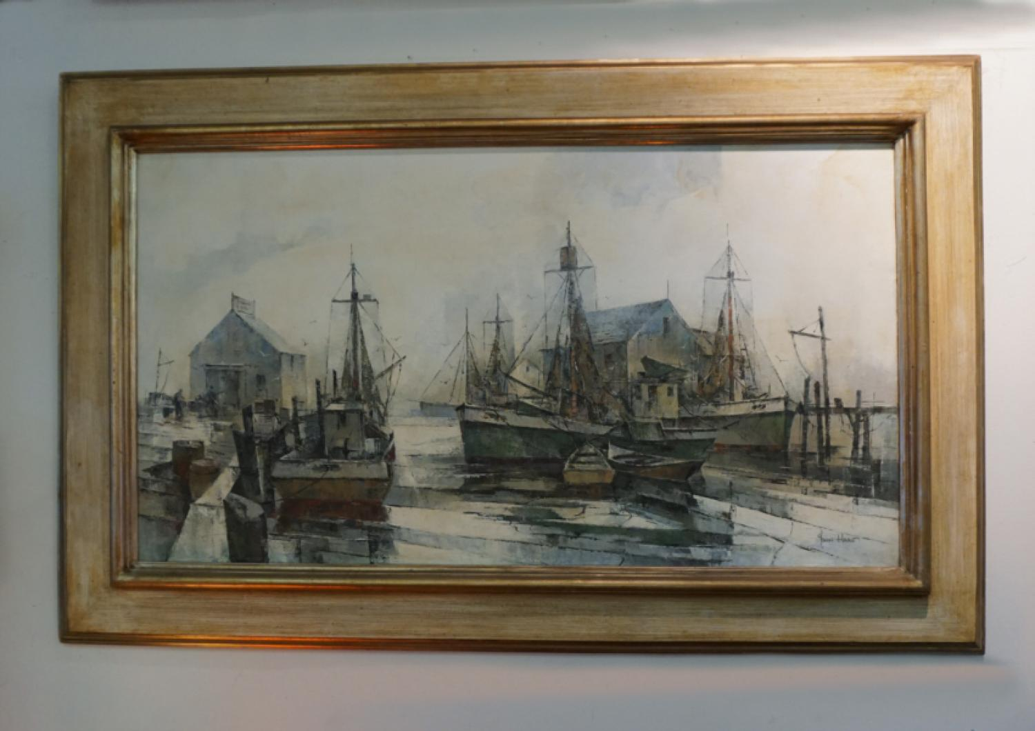 John Cuthbert Hare martime oil painting on canvas ships at port c1950