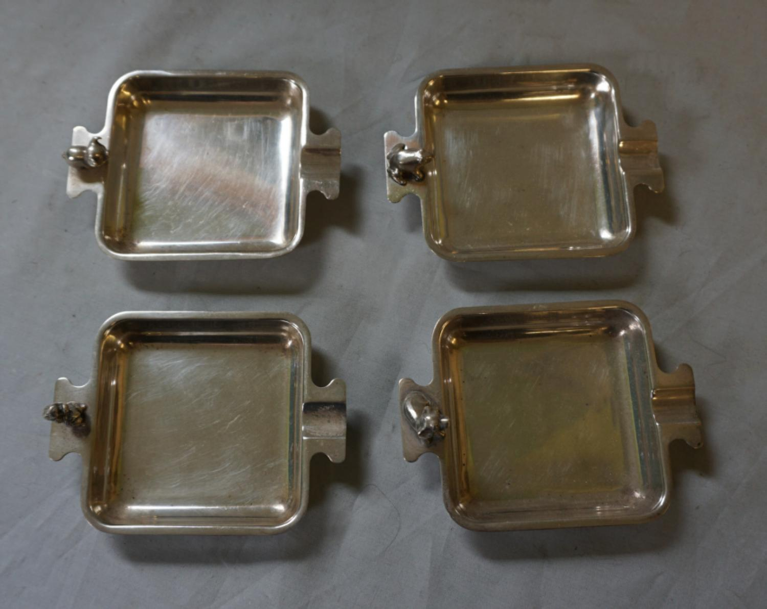 Vintage set of four sterling silver ashtrays with tiny animals