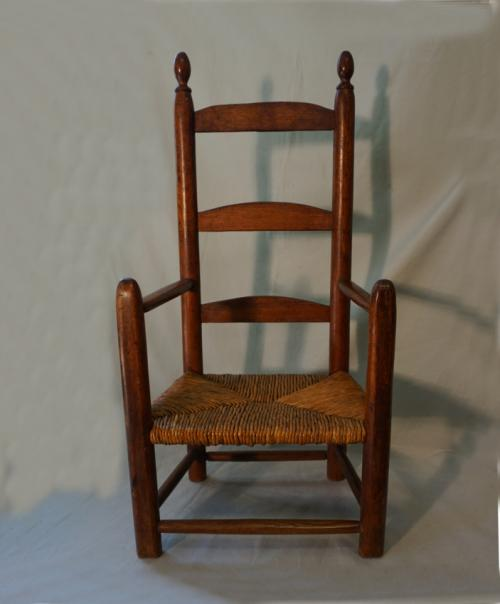 Antique early American childs ladderback armchair c1730