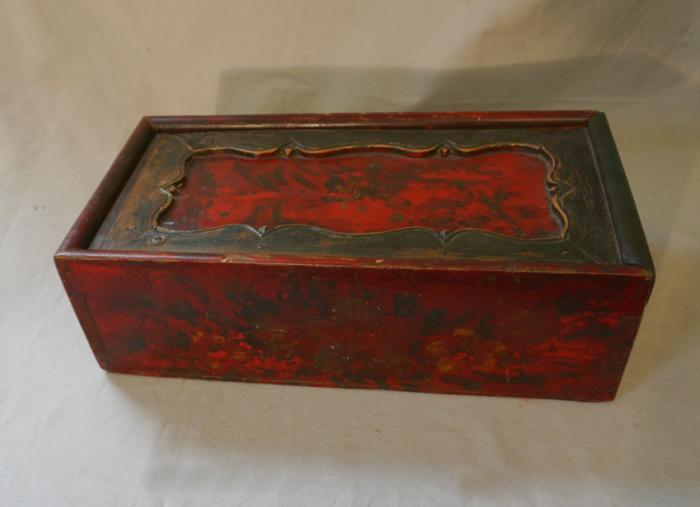 Antique Chinese hand painted storage box c1800