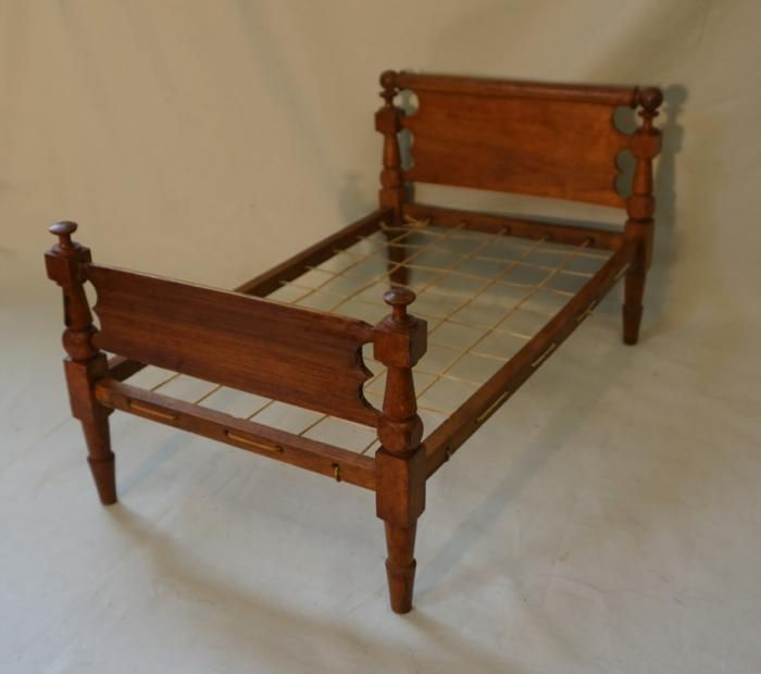 Antique early American country maple doll bed c1815