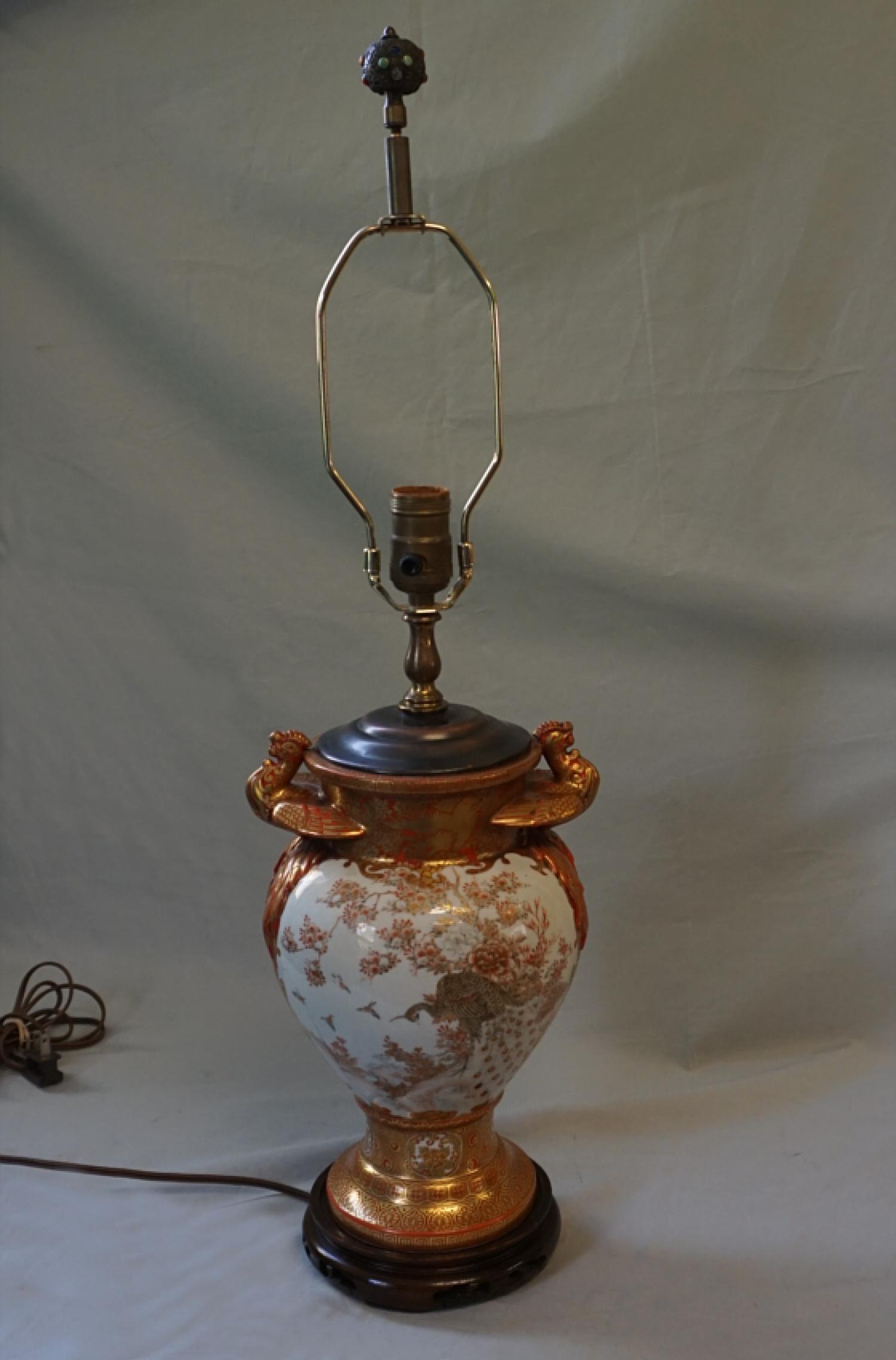 Antique lamp Japanese Satsuma porcelain Meiji c1880