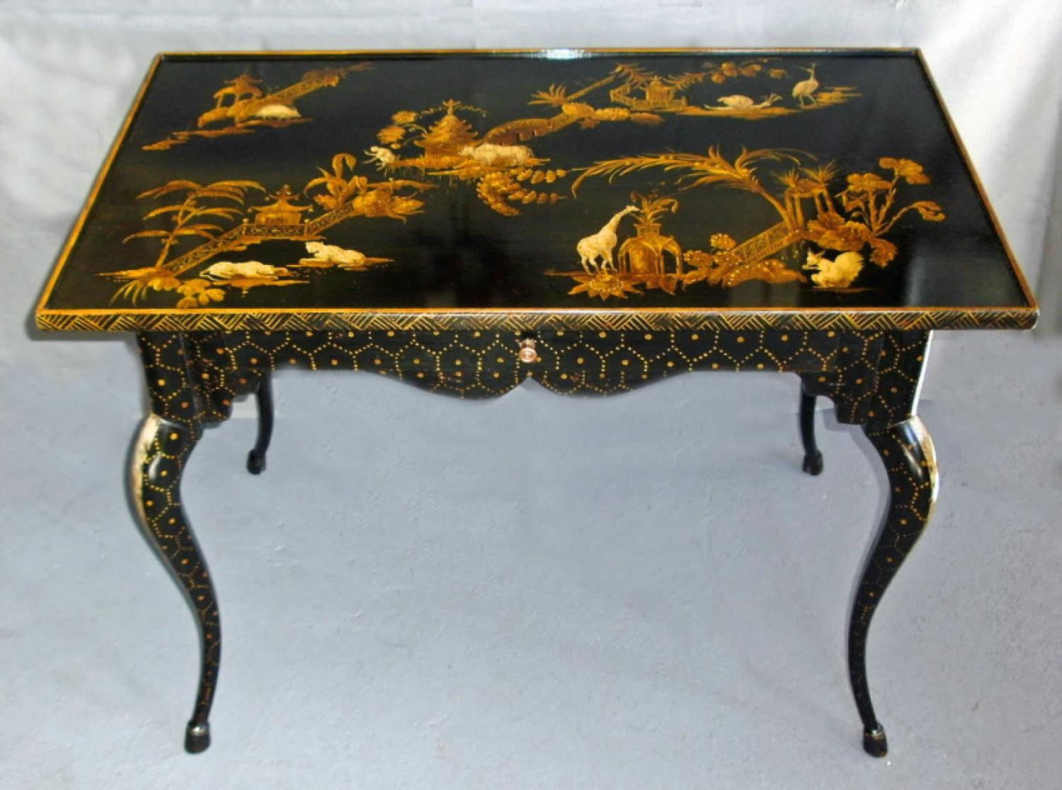 Jansen School black lacquered chinoiserie decorated table c1920