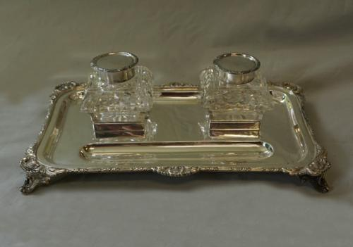 English sterling and crystal double inkwell
