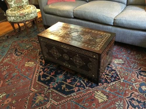 Antique Moroccan mother of pearl inlaid trunk