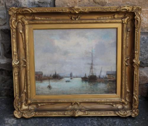 Antique 19thc maritime oil painting ship in harbor c1880