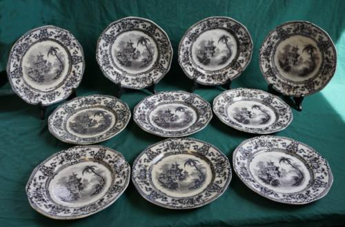 Antique set of 10 Davenport Cyprus ironstone plates c1855
