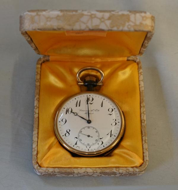 Gunmetal And Gold Open Face Repeater Pocket Watch Sharman