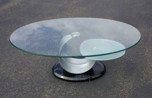 Vintage modern glass steel and black marble coffee table