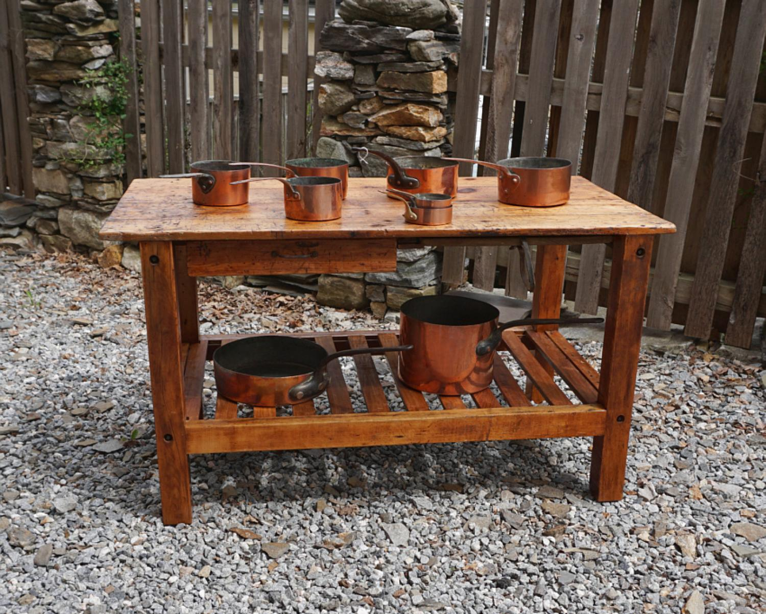 Antique kitchen work table - Antique Kitchen Island Work Table C1840