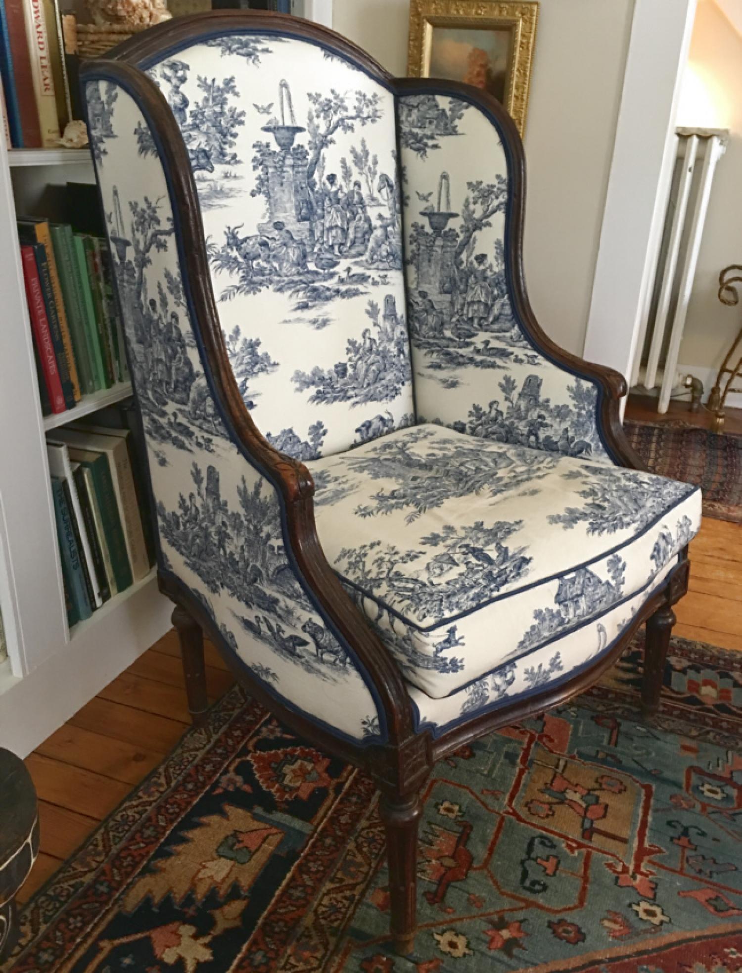 Antique 18thc Louis XVI walnut bergere wing back chair
