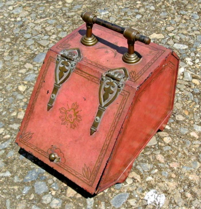 19th century English painted tole coal scuttle c1880