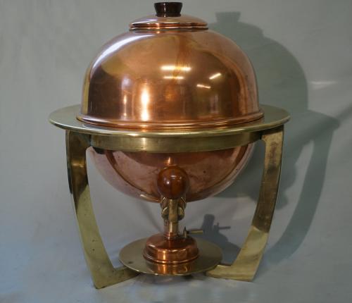 Vintage Art Deco copper and brass metal samovar by Sterno NY