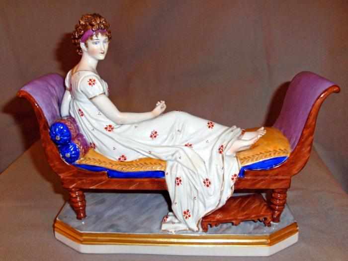 Antique English Chelsea porcelain figure of a young woman c1820