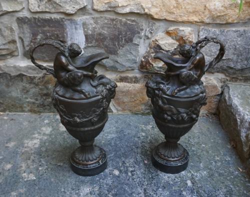 Antique pr of Bacchus bonze urns from Sotheby Parke Bernet c1880