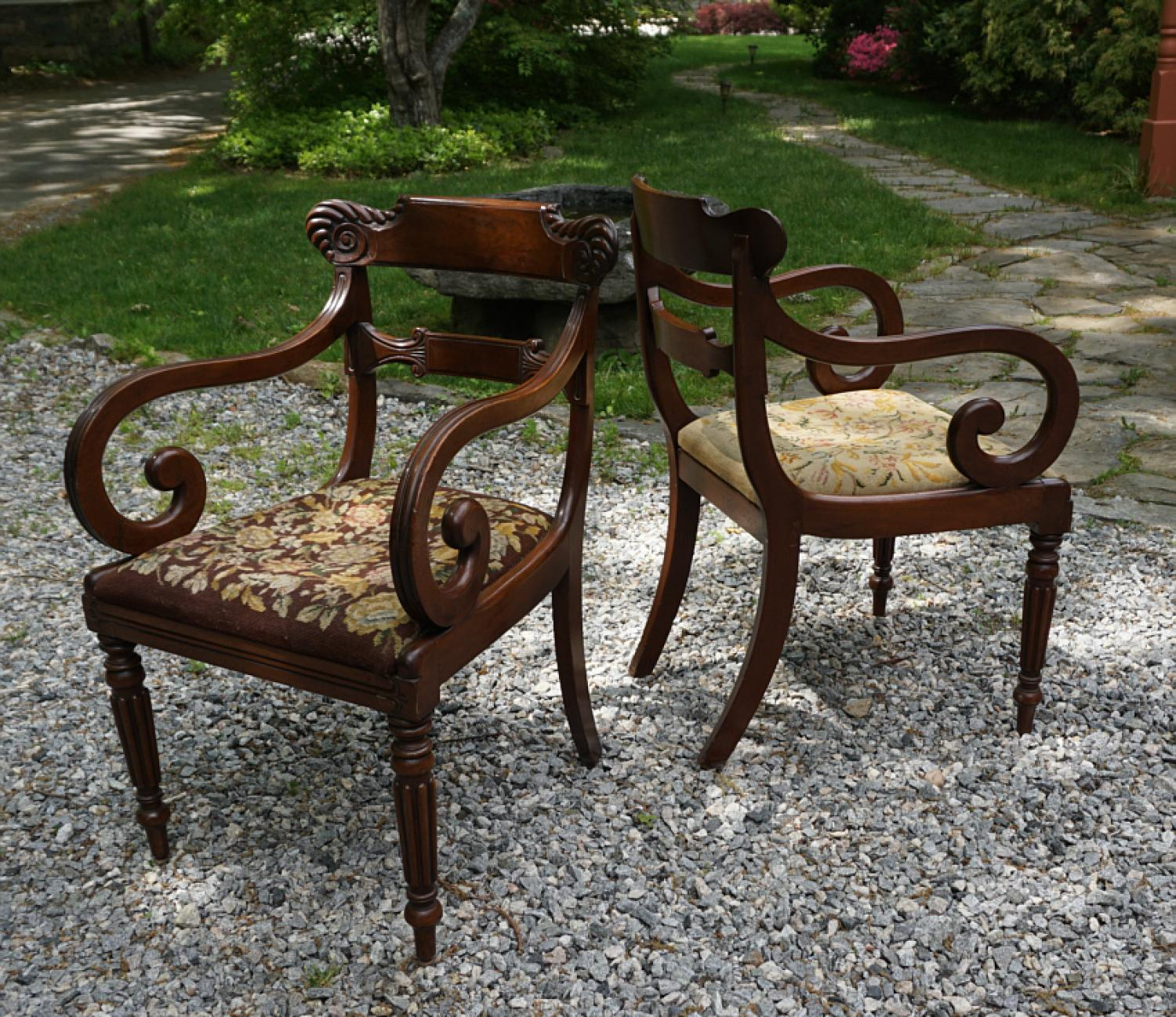 American Federal period pair of walnut armchairs