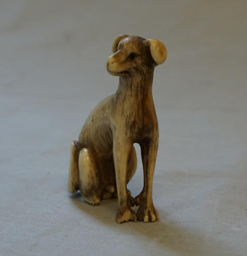 Antique 19th century Japanese Akita dog netsuke