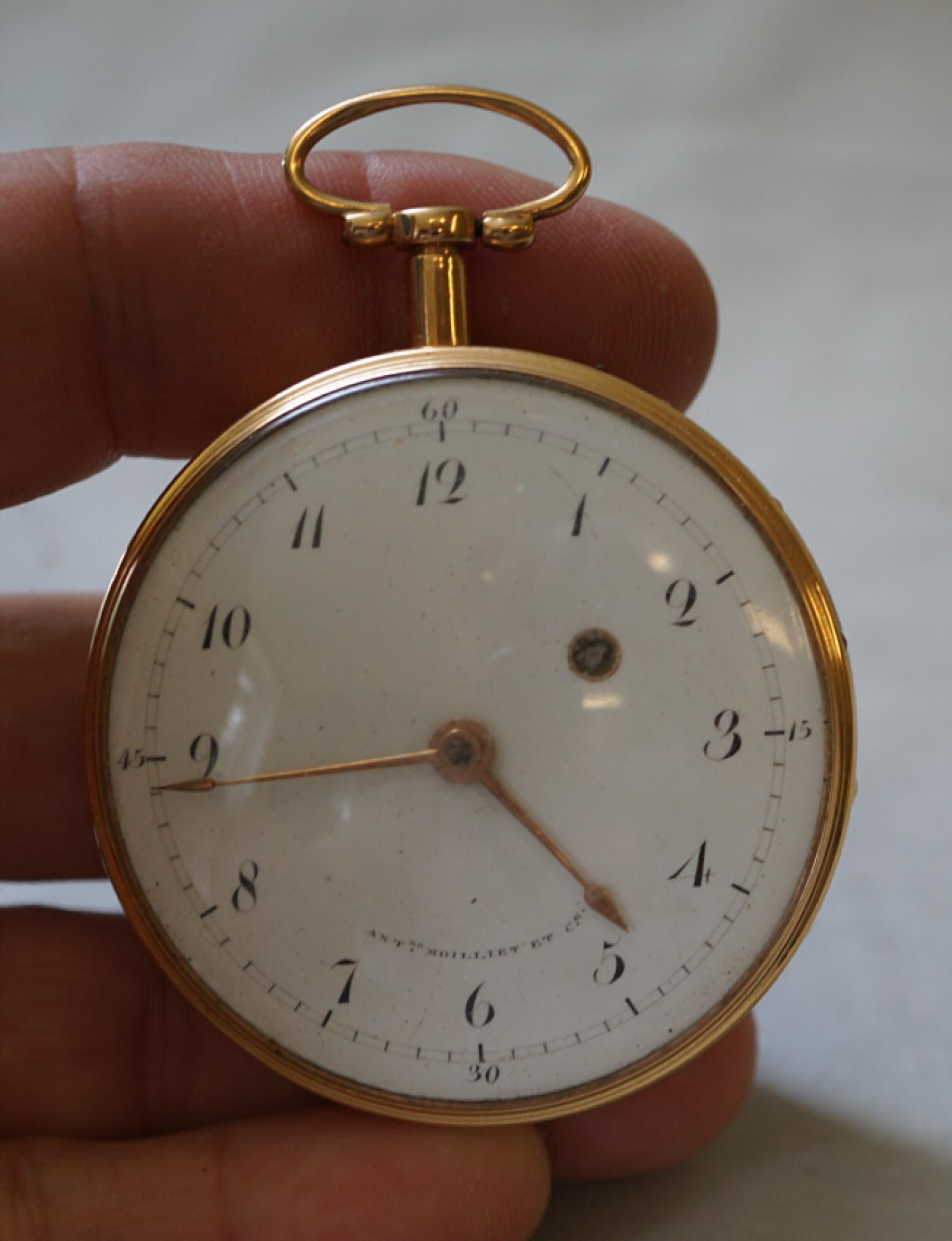 18k rose gold pocket watch Antoine Moilliet Geneve