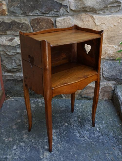 Antique French provincial cherry night stand c1780