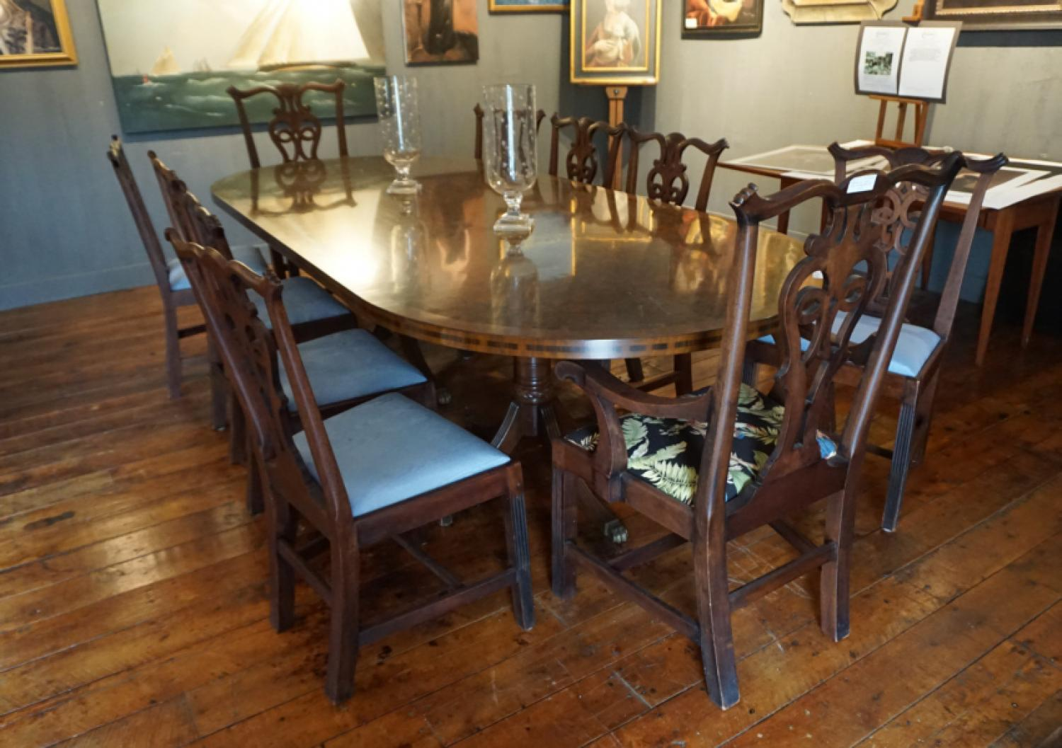 Antique set of ten Chippendale mahogany dining chairs