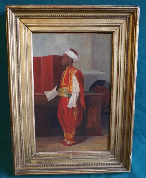 Antique Orientalist oil painting of Moroccan boy dated 1887