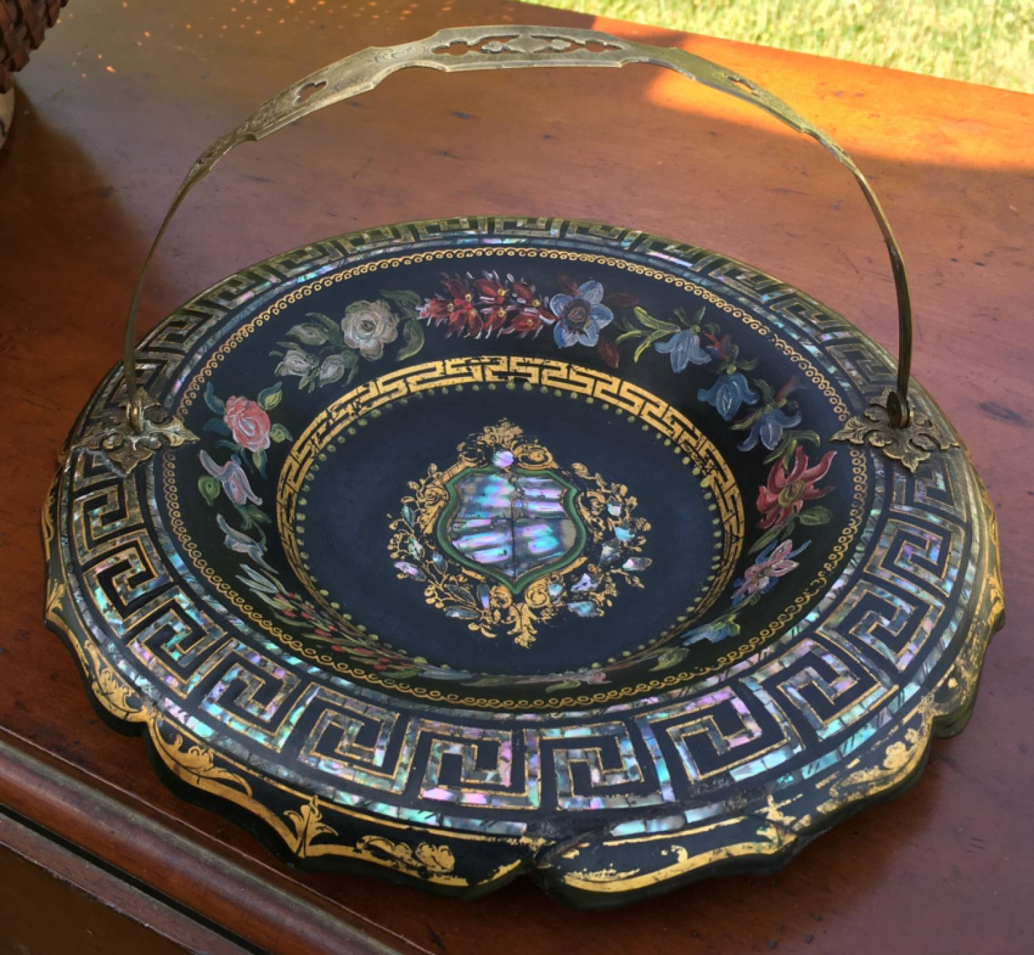 Victorian papier mache brides basket with abalone shell inlay
